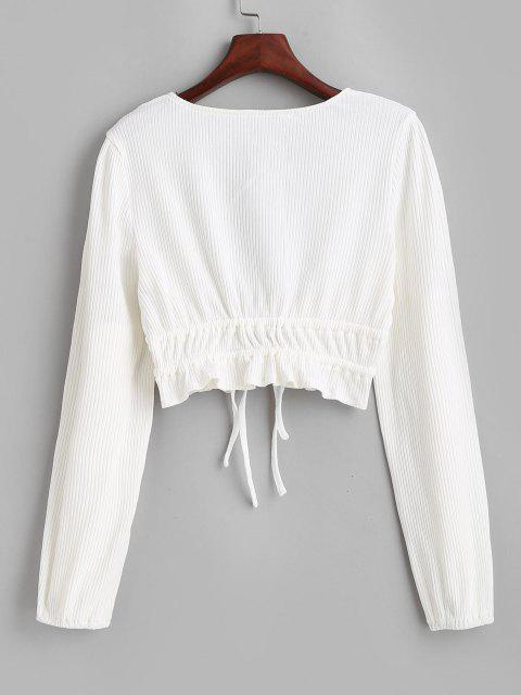 lady Ribbed Ruffle Tie Plunge Knit Crop Top - WHITE L Mobile