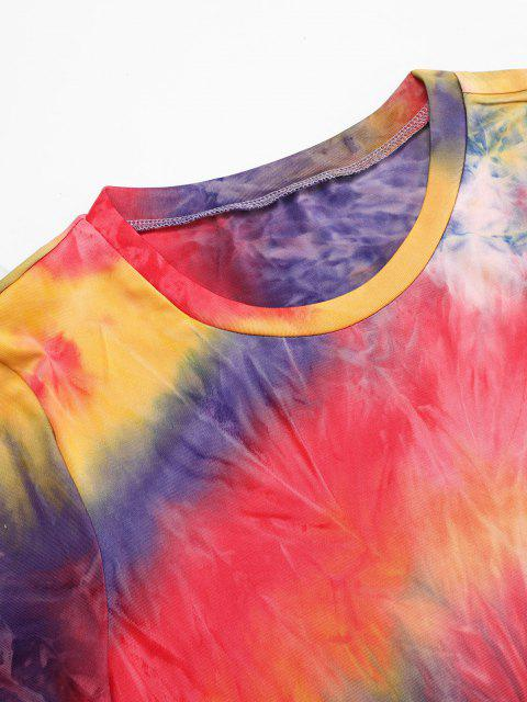 ladies Colorful Tie Dye Cinched Slinky Dress - MULTI M Mobile