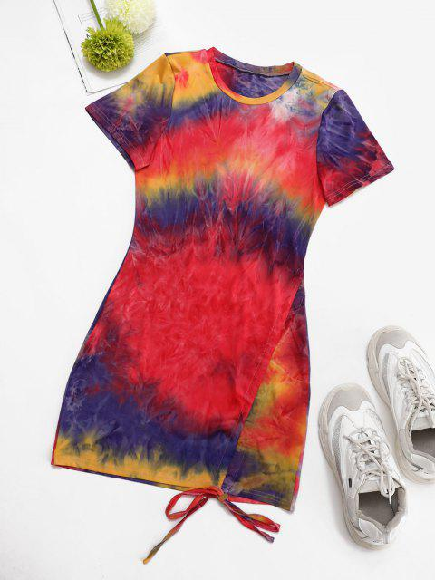outfit Colorful Tie Dye Cinched Slinky Dress - MULTI S Mobile