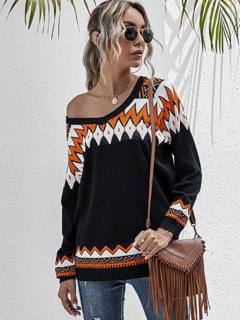 affordable Zig Zag Raglan Sleeve Jumper Sweater - BLACK S Mobile