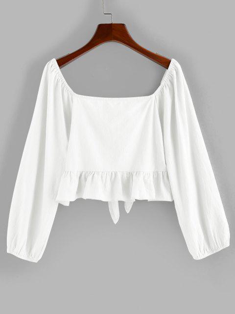 shop ZAFUL Flounce Tie Front Crop Blouse - MILK WHITE S Mobile