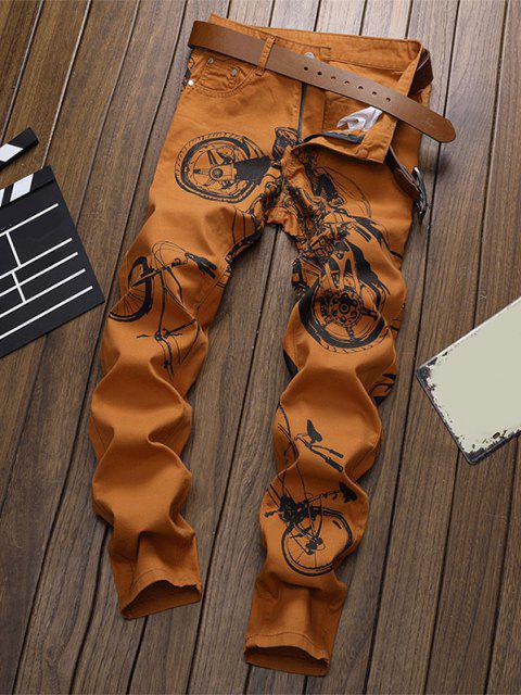 new Long Motorcycle Bike Pattern Jeans - DARK ORANGE 36 Mobile