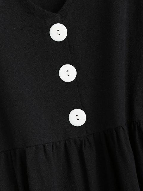 ladies Half Button Tiered Smock Dress - BLACK M Mobile