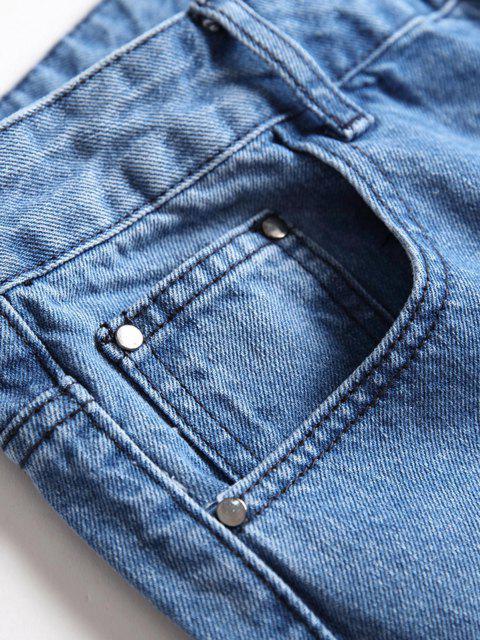 outfit Long Distressed Destroy Wash Scratch Jeans - LIGHT BLUE 40 Mobile
