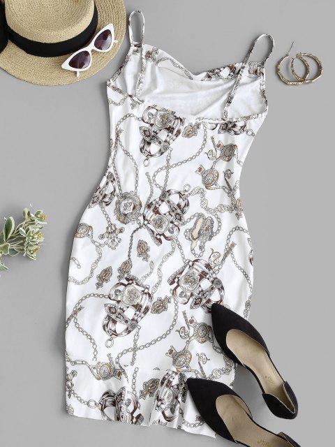 Vestido Cami con Volantes y Estampado - Blanco L Mobile