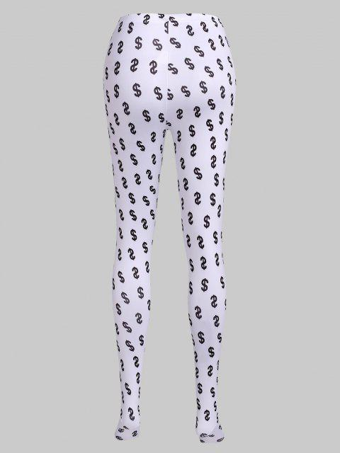buy Money Print Full Foot Leggings - WHITE M Mobile