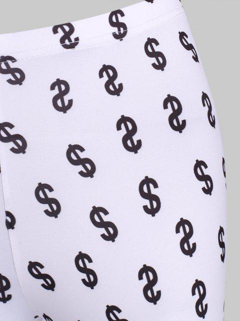 ladies Money Print Full Foot Leggings - WHITE S Mobile