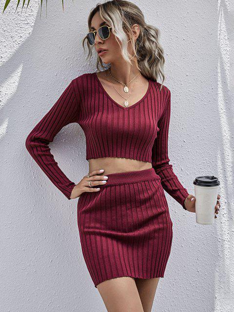 women Ribbed V Neck Sweater Bodycon Skirt Set - DEEP RED L Mobile