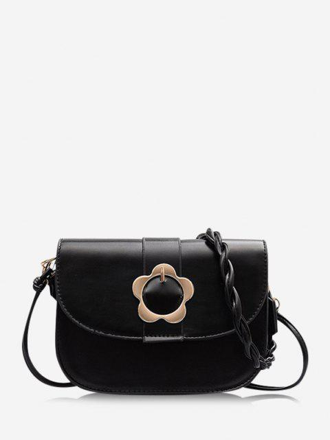 fancy Braid String Flower Shape Lock Crossbody Bag - BLACK  Mobile