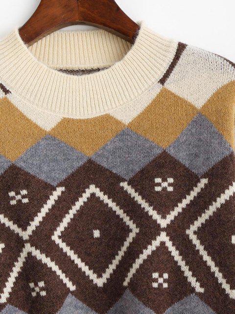 Suéter Argyle com gola cavada - Multi Um Tamanho Mobile