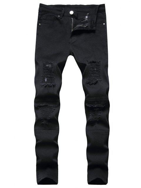fashion Distressed Destroy Wash Patchwork Jeans - BLACK 34 Mobile
