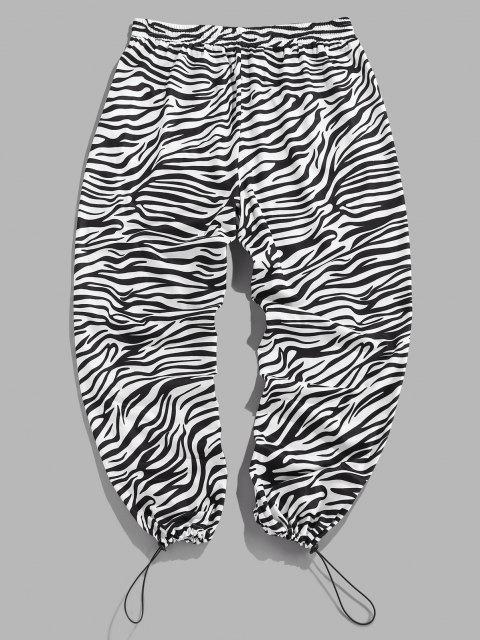 ZAFUL Pantalones Casuales de Estampado de Cebra de Cordón - Negro M Mobile