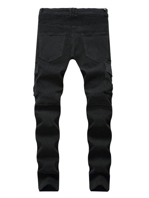 shops Pleated Patchwork Zipper Cargo Jeans - BLACK 36 Mobile