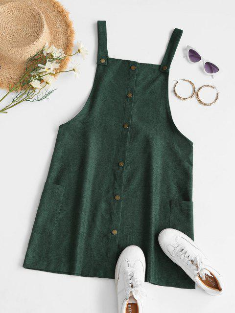 latest Corduroy Snap Button Overall Dress - GREEN S Mobile
