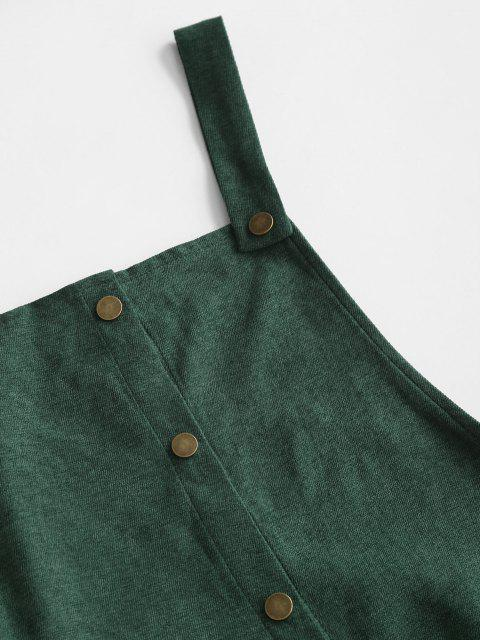 trendy Corduroy Snap Button Overall Dress - GREEN M Mobile
