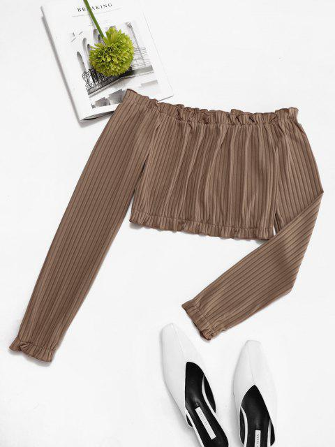 affordable Cropped Ribbed Frilled Off Shoulder Top - LIGHT COFFEE S Mobile