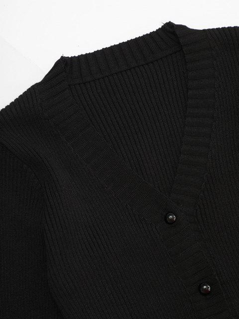 Cardigan con Bottoni con Bordi Smerlati - Nero Taglia unica Mobile