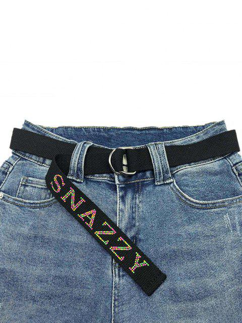unique Letters Pattern Hot Drilling Canvas Buckle Belt - BLACK  Mobile