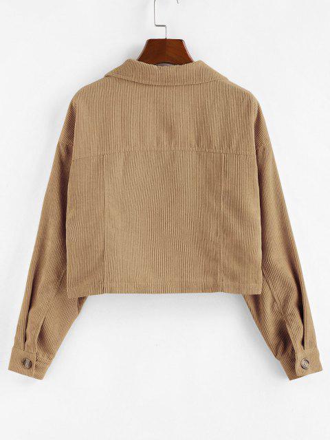 ZAFUL Corduroy Front Pockets Crop Jacket - سكر بني L Mobile
