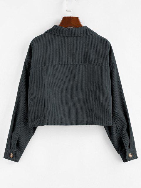 best ZAFUL Corduroy Front Pockets Crop Jacket - GRAY L Mobile