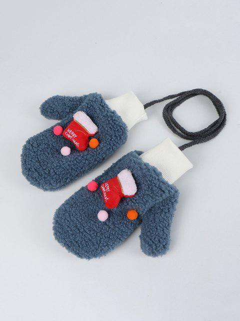 latest Christmas Stocking Pattern Sherpa Fleece Gloves - MARBLE BLUE  Mobile