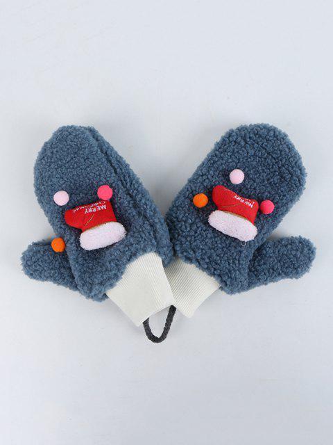 latest Christmas Stocking Pattern Sherpa Fleece Gloves - MARBLE BLUE  Mobile