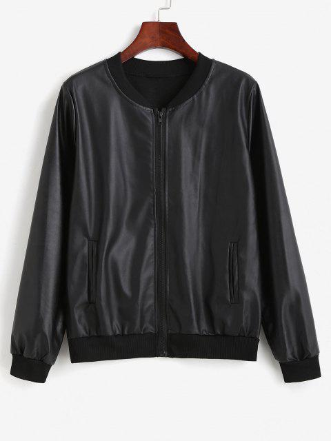 Zip Up Faux Leather Pockets Bomber Jacket - أسود مقاس واحد Mobile