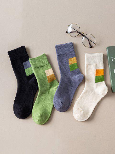 fancy 4 Pairs Colorblock Print Quarter Socks Set - MULTI-A  Mobile