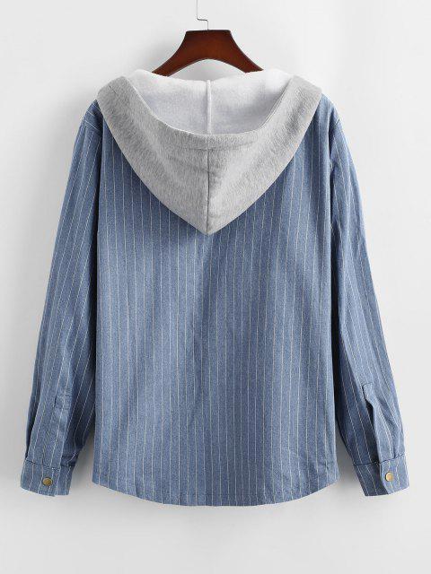 Veste à Capuche Rayée en Laine en Denim - Bleu XL Mobile