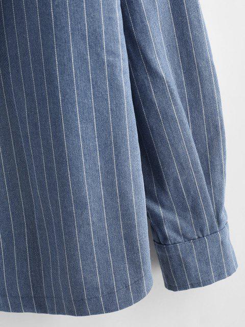 best Striped Fleece Hooded Denim Jacket - BLUE 2XL Mobile