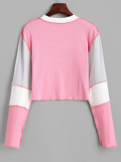 T-shirt Court Côtelé à Bretelleen Blocs de Couleurs - Rose Léger  L Mobile