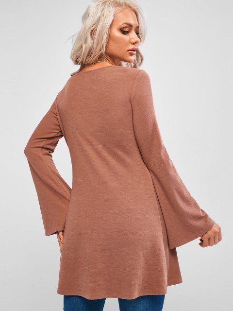 T-Shirt a Tunica in Maglia con Finte Perle di ZAFUL - Rosa Brown S Mobile