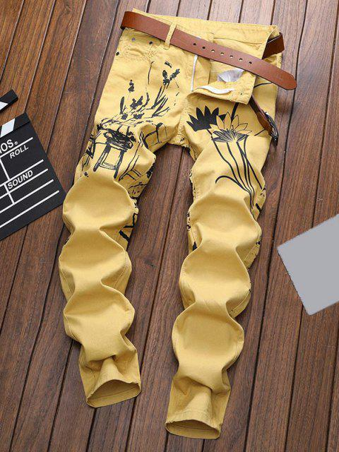 fancy Chinese Painting Print Zip Fly Jeans - YELLOW 32 Mobile