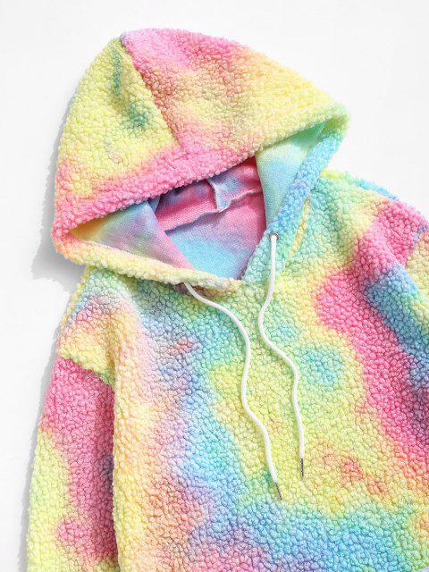 sale Tie Dye Front Pocket Teddy Hoodie - LIGHT BLUE S Mobile