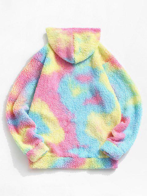 lady Tie Dye Front Pocket Teddy Hoodie - LIGHT BLUE M Mobile