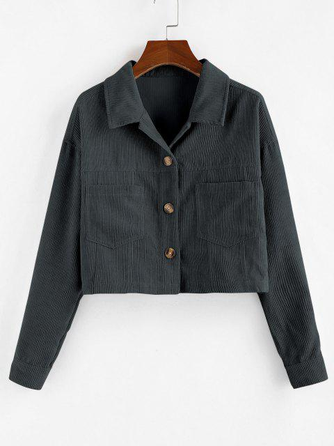 ladies ZAFUL Corduroy Front Pockets Crop Jacket - GRAY S Mobile