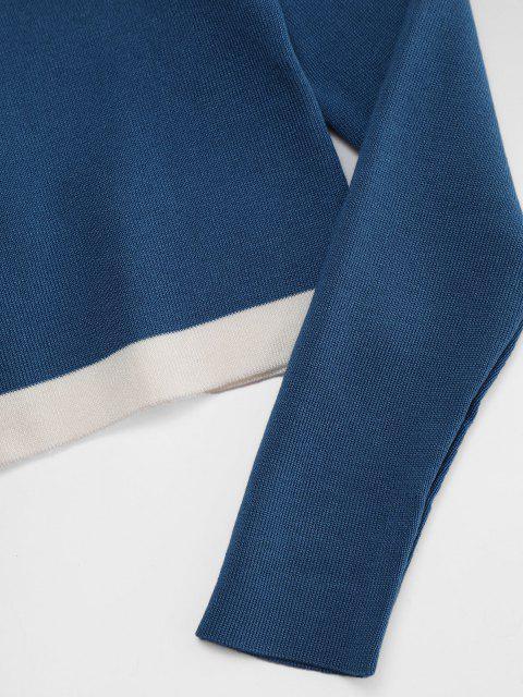 Knitwear Barriga-de-Fora com Contraste - Azul Um Tamanho Mobile