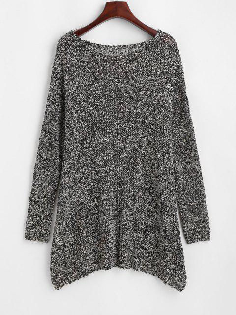 Pullover mit Rundhalsausschnitt und Farbmischung - Grau Eine Größe Mobile