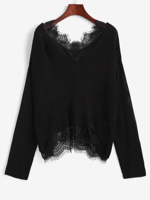 Camisola de Ombro com Gota de Cílios - Preto S Mobile