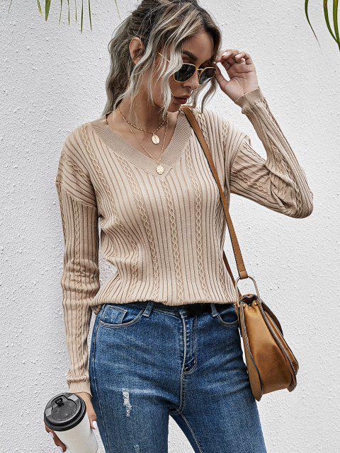 Gerippter Einfacher Pullover mit V Ausschnitt und Hängender Schulter - Licht Kaffee L Mobile