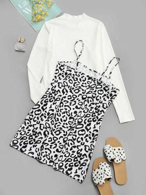 trendy Ribbed Tee and Leopard Cami Dress Set - BLACK L Mobile