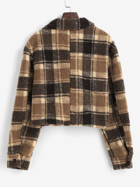 Plaid Pocket Crop Teddy Coat - قهوة XL Mobile