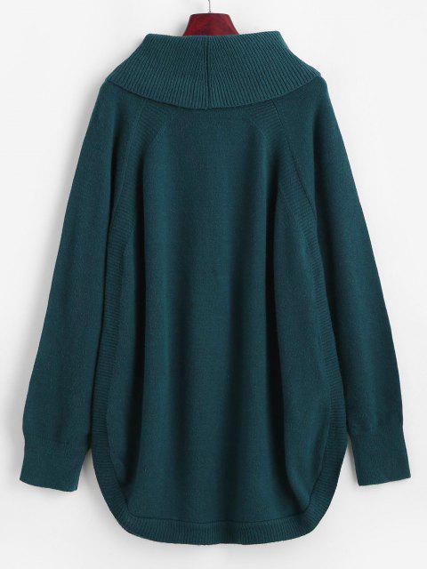 Pullover mit Wasserfallausschnitt und Raglan Ärmel - Blau Eine Größe Mobile
