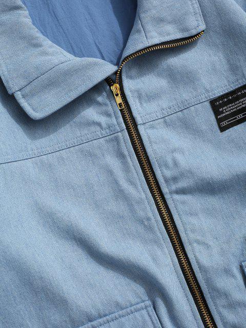 latest Flap Pocket Applique Patch Jean Jacket - LIGHT BLUE S Mobile