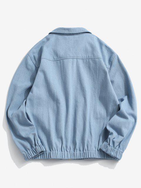 fashion Flap Pocket Applique Patch Jean Jacket - LIGHT BLUE 2XL Mobile