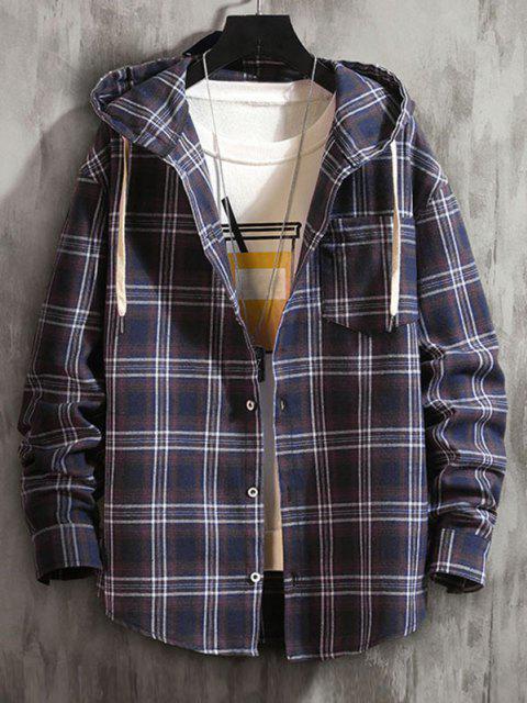online Plaid Pattern Pocket Patch Hooded Shirt Jacket - CADETBLUE L Mobile