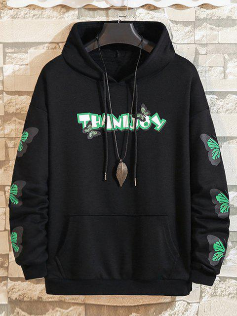 hot Letter Butterfly Print Front Pocket Hoodie - BLACK M Mobile