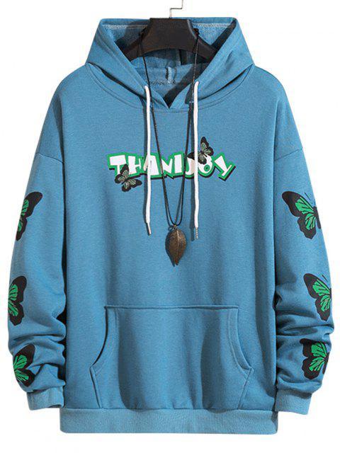 Hoodie mit Buchstabenmuster und Vordertasche - Marinblau M Mobile