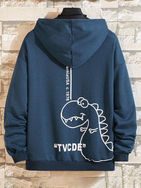 shop Cartoon Dinosaur Letter Pattern Front Pocket Hoodie - COBALT BLUE M Mobile