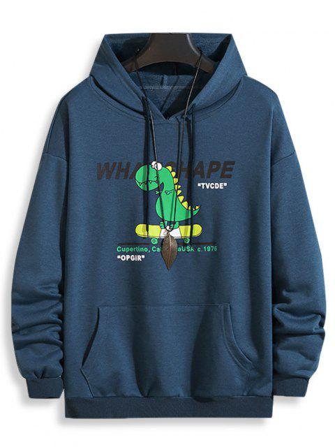 fancy Cartoon Dinosaur Letter Pattern Front Pocket Hoodie - COBALT BLUE S Mobile